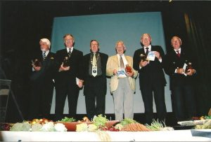 In the 2006 IFAJ Congress in Hamar, Norway, IFAJ celebrated its 50th anniversary and invited past presidents to the Congress. In this photo are (from left to right) Hans Matthiesen, Paul Queck, David Markey, Frans Sterckx, Larry Sheedy and Alf Skeppstedt.